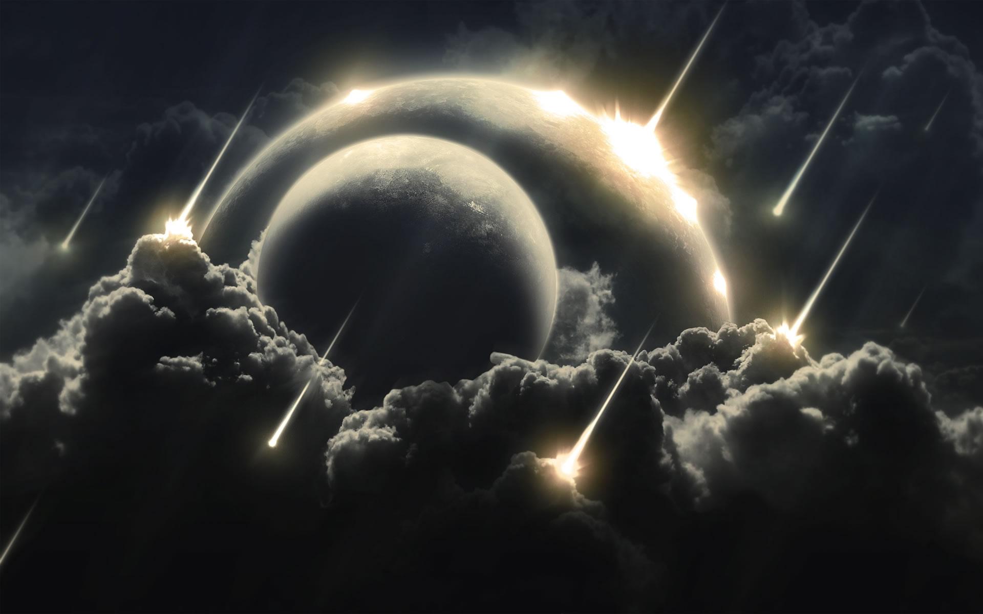 Meteoritos cayendo sobre un Planeta