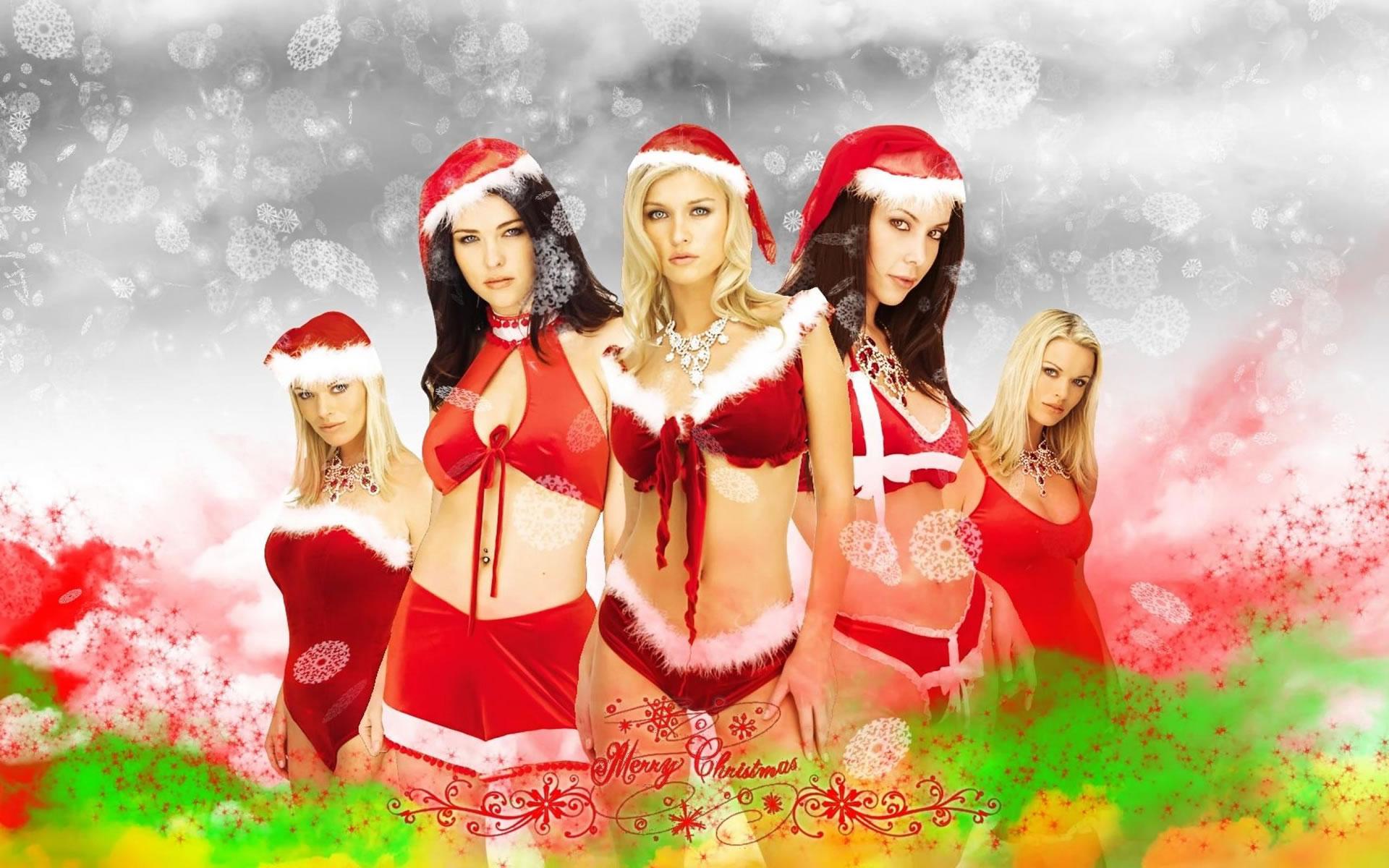 Santa Girls Wallpaper