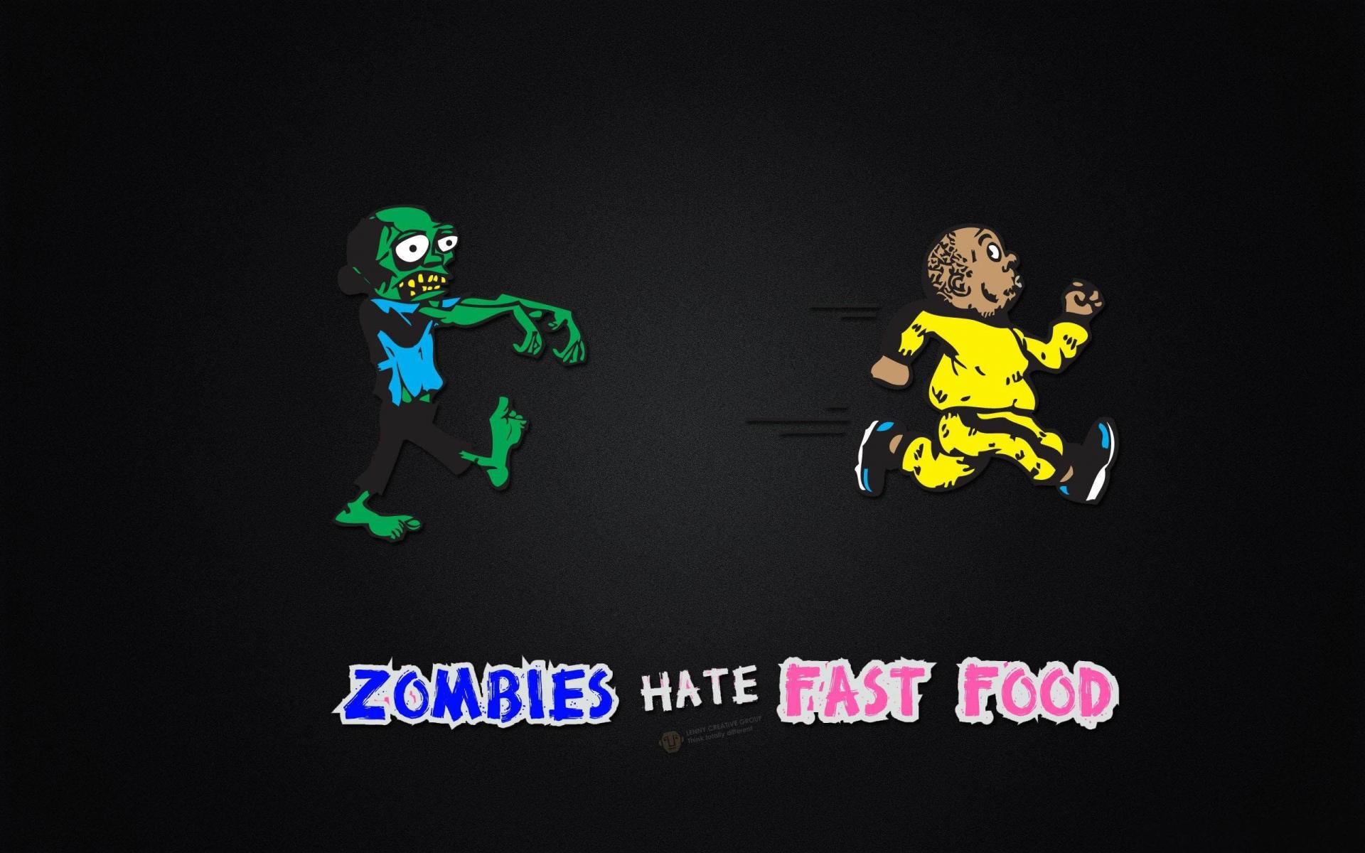 Fondos Graciosos. Los Zombies odian la comida Rápida