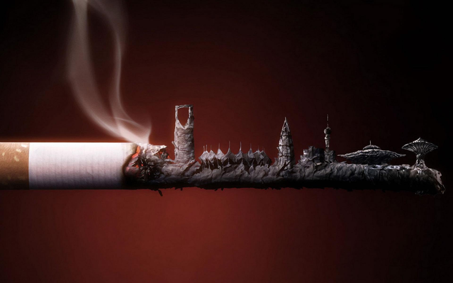 Fotomontaje Skyline en un cigarro.