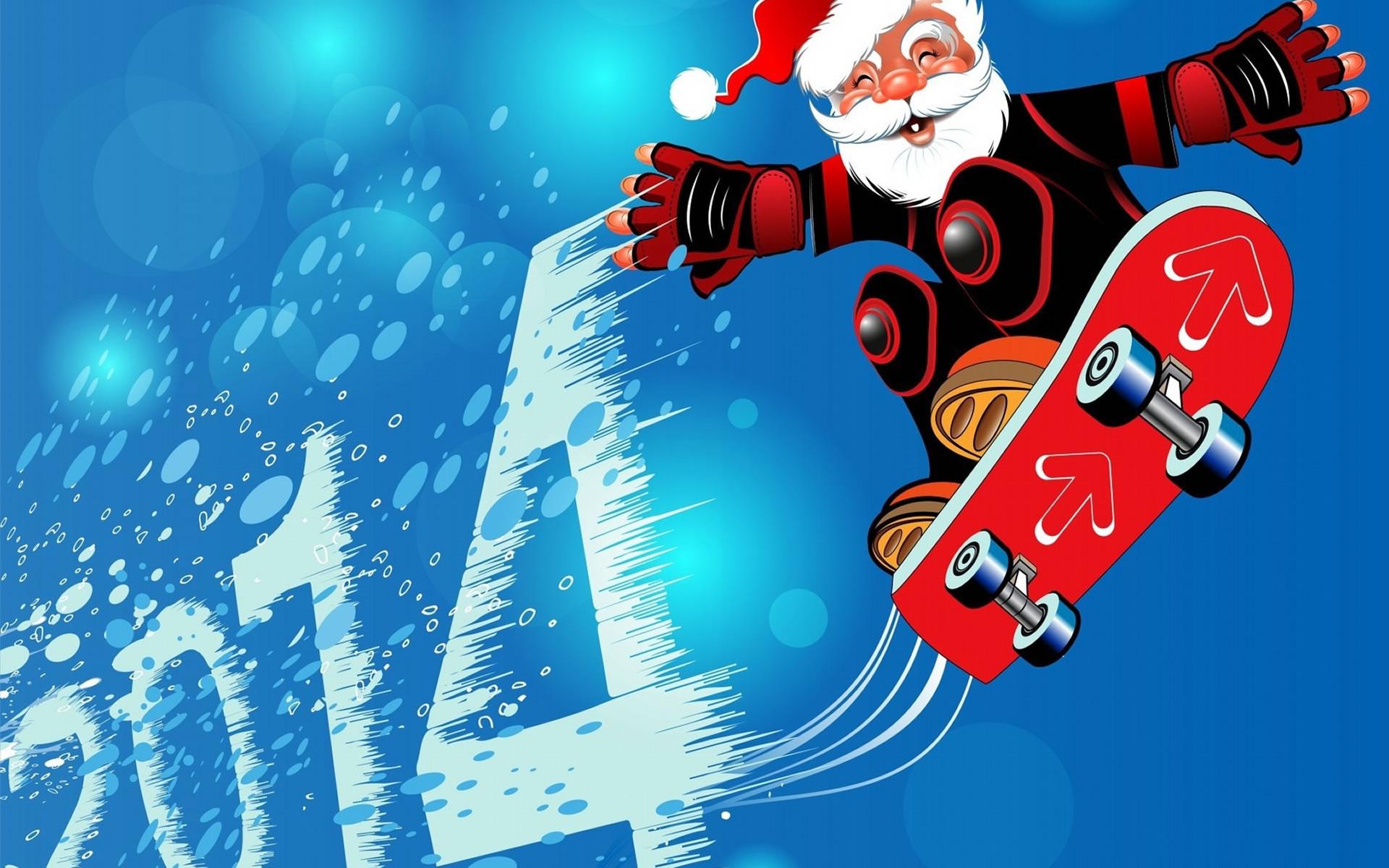 Santa Claus con todos sus ayudantes.