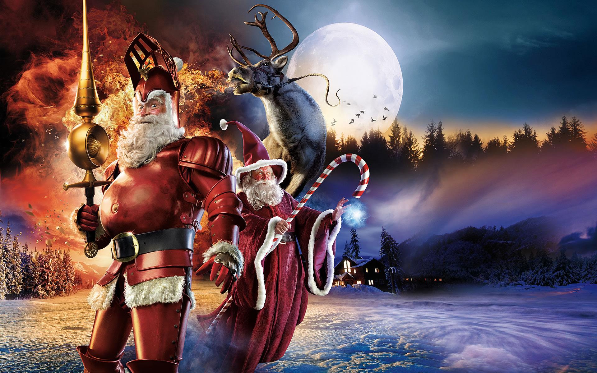 Fondo con Dos Santa Claus