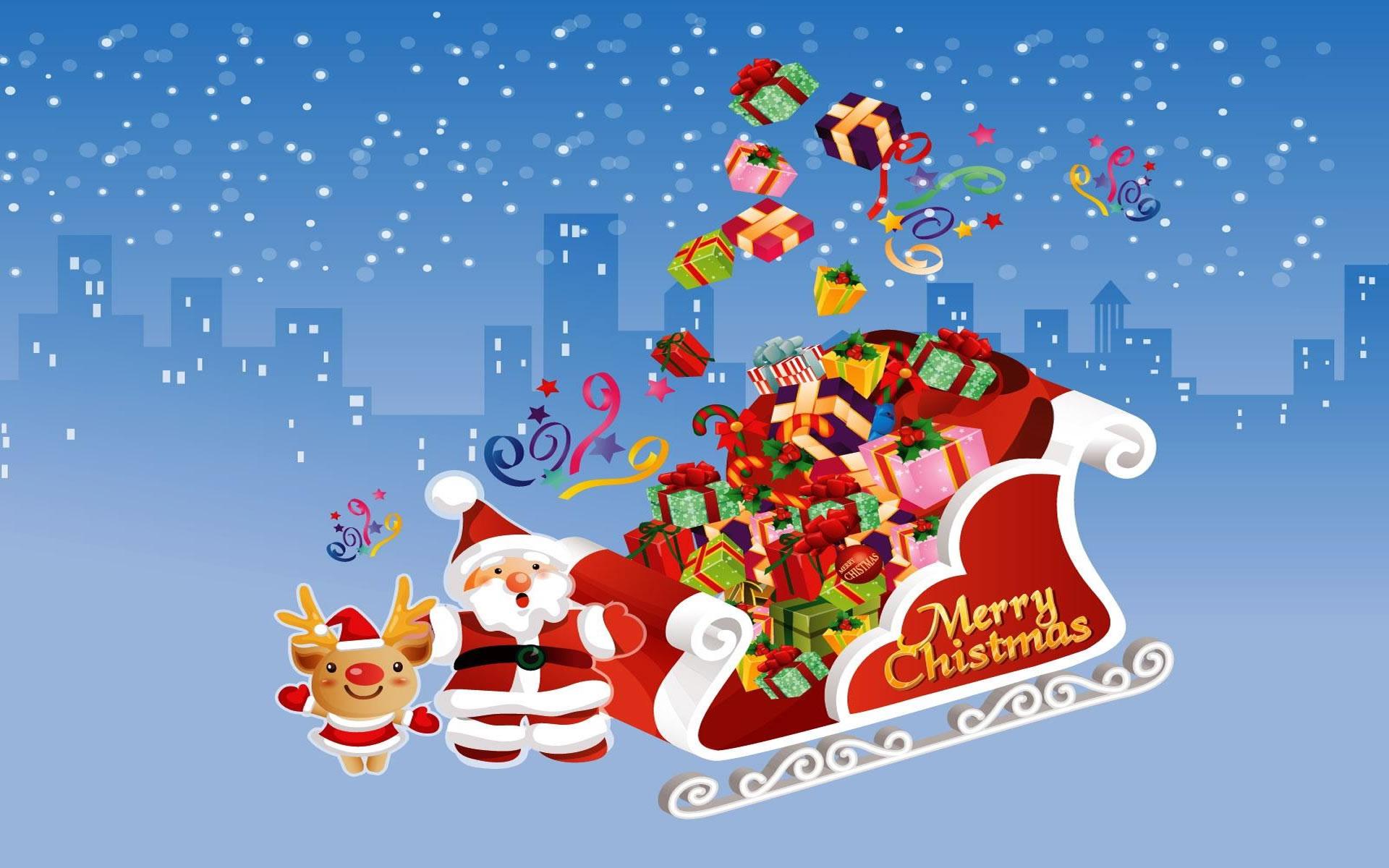 Fondo Navidad 2014 Santa Claus y Rudolph