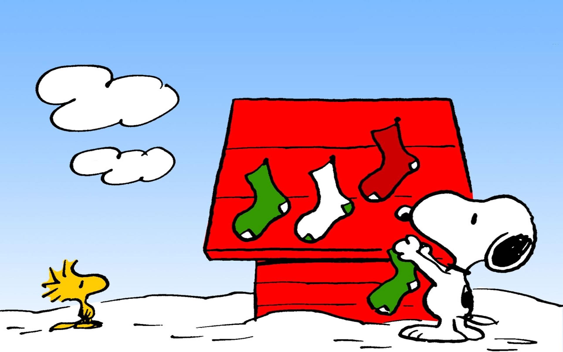 Snoopy decorando de Navidad su Caseta