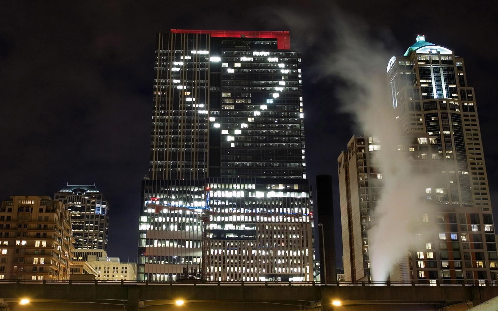 Corazón en Rascacielos Fondo San Valentín