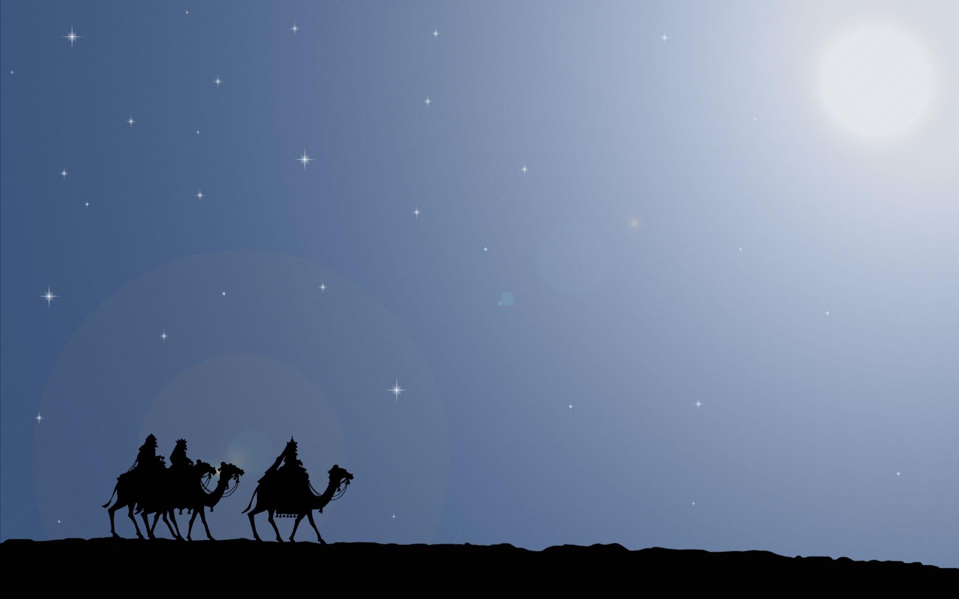 Reyes Magos Orientándose por las estrellas