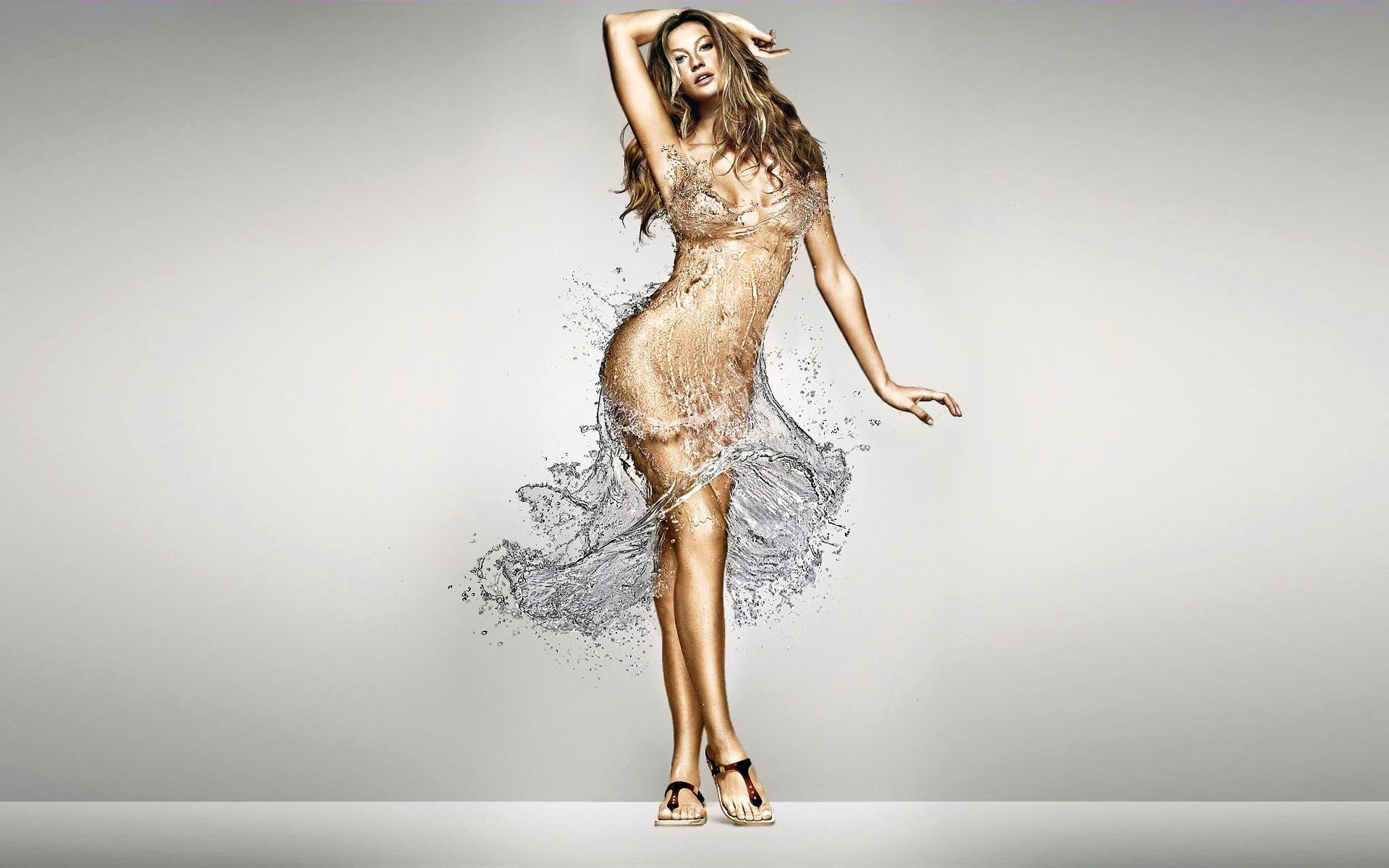 Gisele Bundchen con vestido de agua