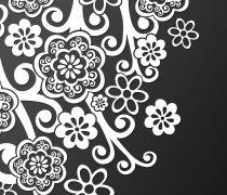 Abstracto Floral Blanco y Negro