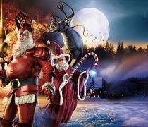 Fondo con Dos Santa Claus.
