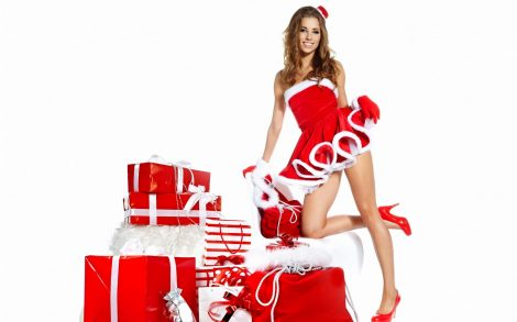 Fondos de pantalla hermosa chica santa Claus