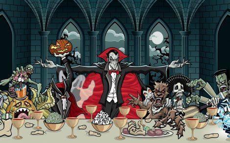 Monstruos Cenando en Halloween