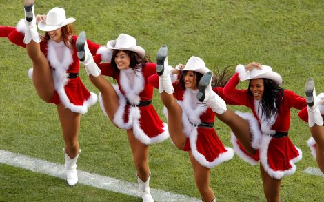 Santa Claus Cheerleaders.